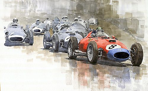 Red Car Ferrari 801Mike Hawthorn German GP 1957