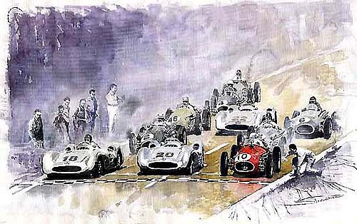 Red Car Maserati 250F Start France GP