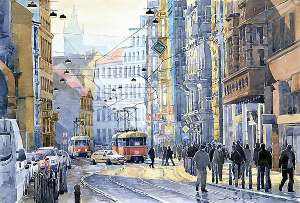 Yuriy Shevchuk ,watercolor Cityscape paintings