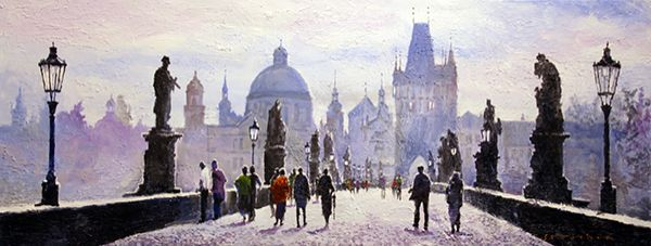 Morning Charles Bridge Prague