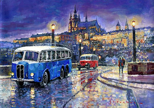TATRA 85-91bus 1938 Praha RND bus 1950 Prague Manesuv bridge