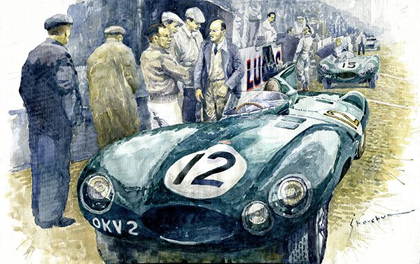 1954 Le Mans 24 Jaguar D type Short Nose Stirling Moss Peter Walker